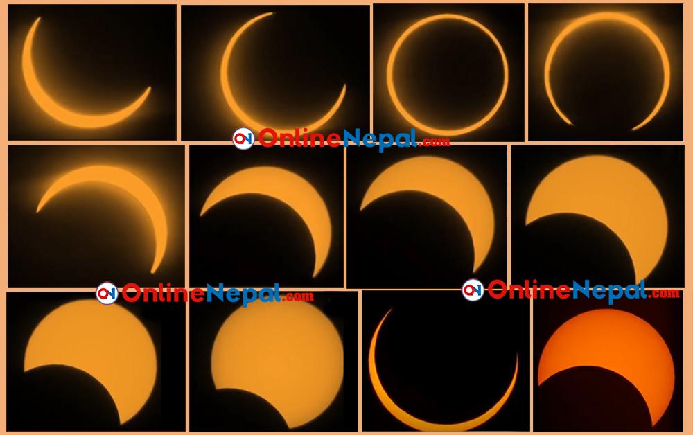 यस्तो देखियो आजको खण्डग्रास सूर्यग्रहण (फाेटाे फिचर)